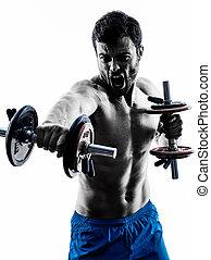 mann- trainieren, fitness, gewichte, übungen, silhouette