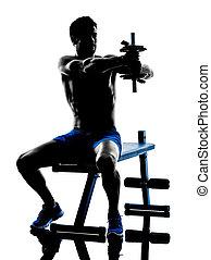 mann- trainieren, fitness, gewichte, bank- presse, übungen, silhouette
