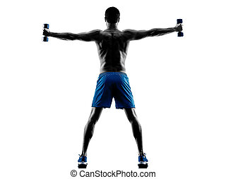 mann- trainieren, fitness, gewichte, silhouette