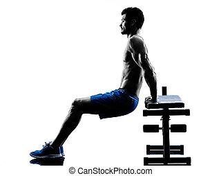 mann- trainieren, fitness, knirschen, bank- presse, übungen, silhouette