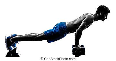 mann- trainieren, fitness, knirschen, silhouette