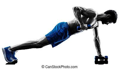 mann- trainieren, fitness, planke, position, übungen, silhouette