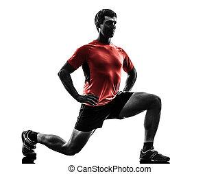 mann- trainieren, fitness, workout, lunges, kauern,...