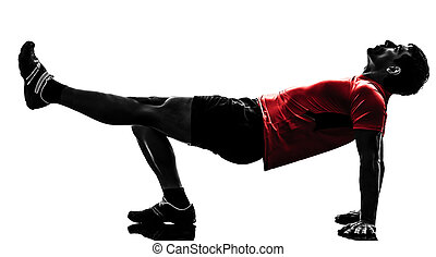 mann- trainieren, fitness, workout, planke, position, silhouette