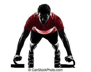 mann- trainieren, fitness, workout, schieben, ups, silhouette