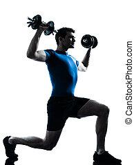 mann- trainieren, gewichtstraining, workout, fitness, haltung