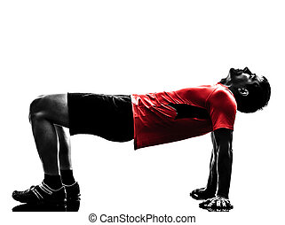 mann- trainieren, planke, position, fitness, workout, silhouette