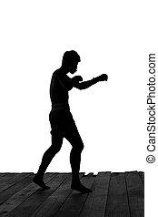 mann- trainieren, thailändisch, boxen, in, silhouette, freigestellt