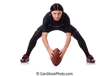 mann, training, mit, amerikanische , fußball, weiß