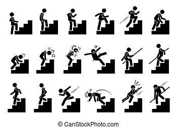 mann, treppenaufgang, treppe, hochklettern