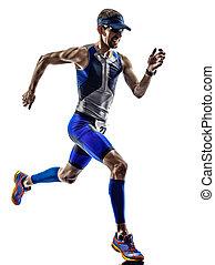 mann, triathlon, eisen, mann, athlet, läufer, rennender