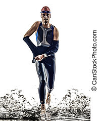 mann, triathlon, eisen, mann, athlet, schwimmer, rennender