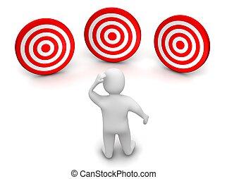 mann, und, drei, targets., 3d, geleistet, illustration.