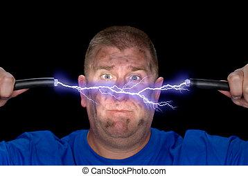 mann, und, elektrisch, bogen