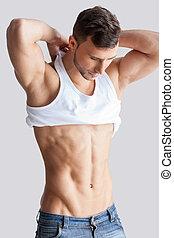 mann, undressing., hübsch, junger, muskulös, mann, starten,...