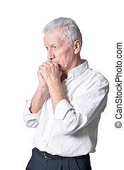 mann, ungezwungene kleidung, traurige , älter, posierend