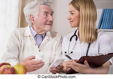 mann, untersuchen, doktor, patient