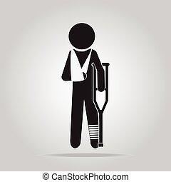mann, verletzung, ikone, zeichen