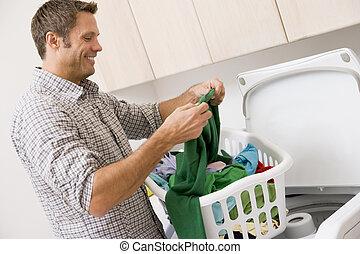 mann, wäscherei