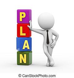 mann, würfel, plan, 3d