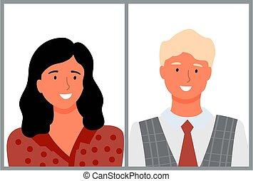 mann, weibliche , porträt, brünett, junges mädchen, altes