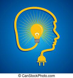 mann, weibliches gesicht, &, light-bulb