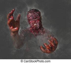 mann, wer, gebrannt, der, horror, von, a, in, ein, verlassenes gebäude