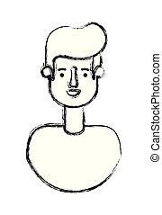 mann, zeichen, junger, avatar