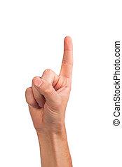 mann, zeigefinger, auf, a, weißer hintergrund