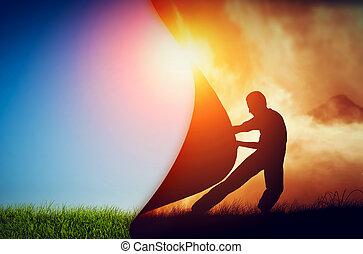 mann, ziehen, vorhang, von, dunkelheit, zu, enthüllen, a,...