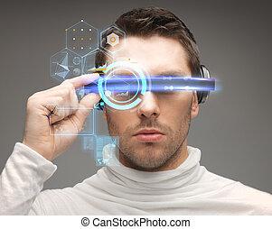 mann, zukunftsidee, brille
