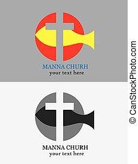 manna, igreja, logotipo