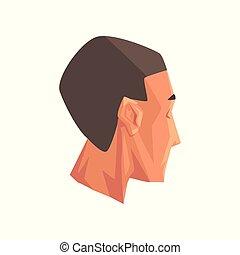 mannelijk hoofd, menselijk lichaamsdeel, vector, illustratie, op, een, witte achtergrond