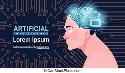 mannelijk hoofd, met, moderne, cyborg, hersenen, op,...