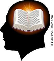 mannelijk hoofd, met, opengeslagen boek