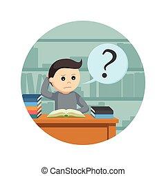 mannelijke , achtergrond, verward, terwijl, boek, student, cirkel, lezende