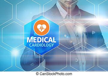 mannelijke arts, aandoenlijk, medisch, interface, op, moderne technologie