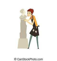 mannelijke , beeldhouwer, chiselling, een, marmer, standbeeld, begaafd, carver, karakter, creatief, artistiek, hobby, of, beroep, vector, illustratie, op, een, witte achtergrond
