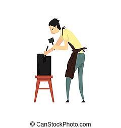 mannelijke , beeldhouwer, doorwerken, zijn, gebeeldhouwd kunstwerk, begaafd, carver, karakter, creatief, artistiek, hobby, of, beroep, vector, illustratie, op, een, witte achtergrond