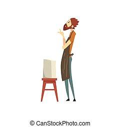 mannelijke , beeldhouwer, karakter, doorwerken, een, marmer, standbeeld, creatief, artistiek, hobby, of, beroep, vector, illustratie, op, een, witte achtergrond