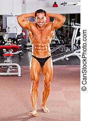 mannelijke beroeps, bodybuilder, in, gym