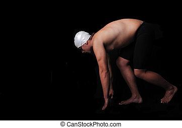 mannelijke , black , vrijstaand, zwemmer