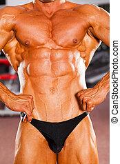 mannelijke , bodybuilder, lichaam, muscle, closeup