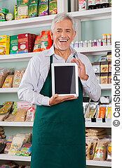 mannelijke , eigenaar, het tonen, digitaal tablet, in,...
