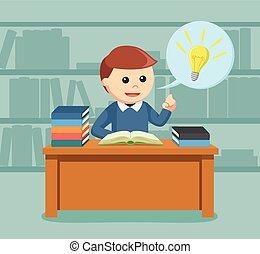 mannelijke , idee, terwijl, boek, student, gekregen, lezende