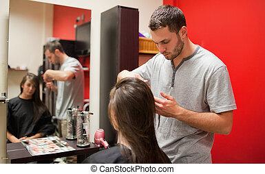 mannelijke , kapper, scherp haar