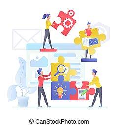 mannelijke , karakters, collectief, vector, vrouwlijk, unity., stukken, solving., plat, jigsaw, zetten, medewerkers, illustration., werken, probleem, raadsel, team, samen., succesvolle , management., smart