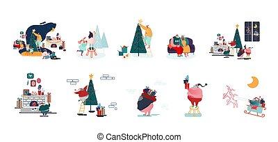 mannelijke , karakters, voorbereiden, decoreren, kerstmis, feestdagen, vrolijke , viering, jaar, pijnboom, vrouwlijk, set, gezin, nieuw