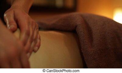 mannelijke , masseren, in, de, spa, salon