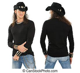 mannelijke , met, leeg, black , lange mouw, hemd